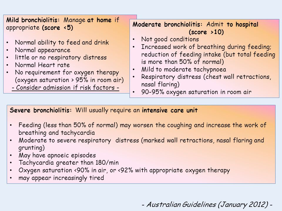 Mild bronchiolitis: Manage at home if appropriate (score <5) Normal ability to feed and drink Normal appearance little or no respiratory distress Norm
