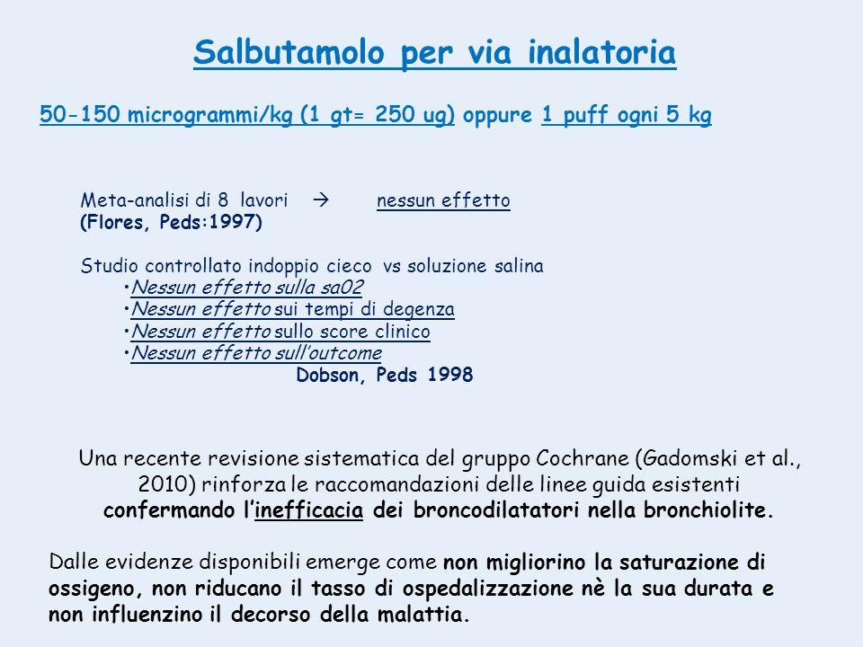 Meta-analisi di 8 lavori  nessun effetto (Flores, Peds:1997) Studio controllato indoppio cieco vs soluzione salina Nessun effetto sulla sa02 Nessun e