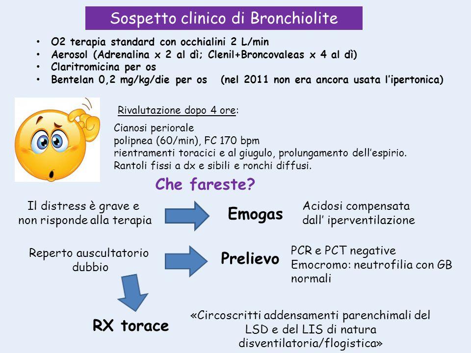 O2 terapia standard con occhialini 2 L/min Aerosol (Adrenalina x 2 al dì; Clenil+Broncovaleas x 4 al dì) Claritromicina per os Bentelan 0,2 mg/kg/die