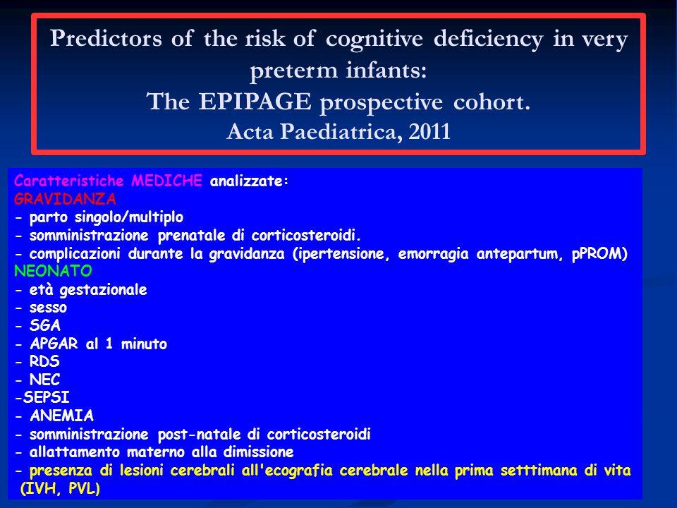 Caratteristiche MEDICHE analizzate: GRAVIDANZA - parto singolo/multiplo - somministrazione prenatale di corticosteroidi.