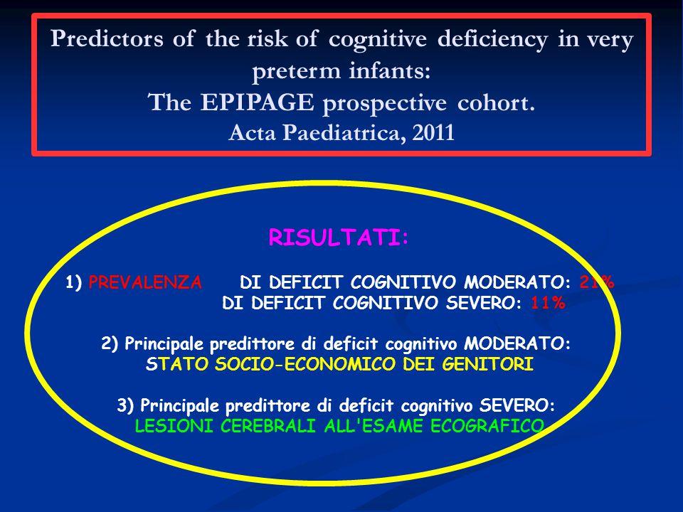 RISULTATI: 1) PREVALENZA DI DEFICIT COGNITIVO MODERATO: 21% DI DEFICIT COGNITIVO SEVERO: 11% 2) Principale predittore di deficit cognitivo MODERATO: STATO SOCIO-ECONOMICO DEI GENITORI 3) Principale predittore di deficit cognitivo SEVERO: LESIONI CEREBRALI ALL ESAME ECOGRAFICO Predictors of the risk of cognitive deficiency in very preterm infants: The EPIPAGE prospective cohort.