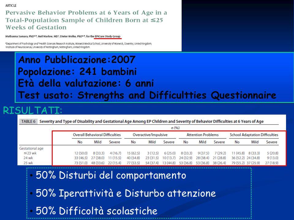 Anno Pubblicazione:2007 Popolazione: 241 bambini Età della valutazione: 6 anni Test usato: Strengths and Difficultties Questionnaire Anno Pubblicazion