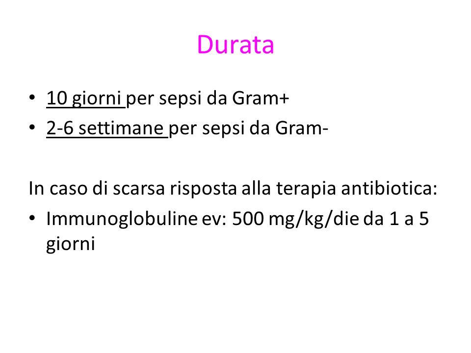 Durata 10 giorni per sepsi da Gram+ 2-6 settimane per sepsi da Gram- In caso di scarsa risposta alla terapia antibiotica: Immunoglobuline ev: 500 mg/kg/die da 1 a 5 giorni