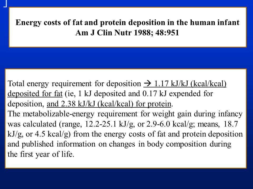 Energy costs of fat and protein deposition in the human infant Am J Clin Nutr 1988; 48:951 Total energy requirement for deposition  1.17 kJ/kJ (kcal/kcal) deposited for fat (ie, 1 kJ deposited and 0.17 kJ expended for deposition, and 2.38 kJ/kJ (kcal/kcal) for protein.