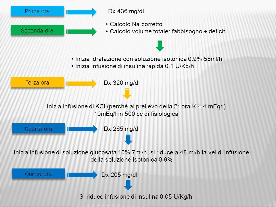 Inizia infusione di KCl (perché al prelievo della 2° ora K 4.4 mEq/l) 10mEq/l in 500 cc di fisiologica Prima ora Dx 436 mg/dl Seconda ora Calcolo Na corretto Calcolo volume totale: fabbisogno + deficit Inizia idratazione con soluzione isotonica 0.9% 55ml/h Inizia infusione di insulina rapida 0.1 U/Kg/h Terza ora Dx 320 mg/dl Quarta ora Dx 265 mg/dl Inizia infusione di soluzione glucosata 10% 7ml/h, si riduce a 48 ml/h la vel di infusione della soluzione isotonica 0.9% Quinta ora Dx 205 mg/dl Si riduce infusione di insulina 0.05 U/Kg/h