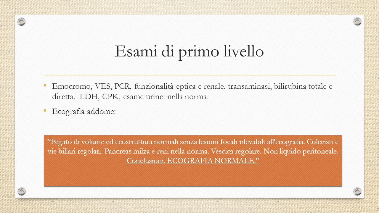 Esami di primo livello Emocromo, VES, PCR, funzionalità eptica e renale, transaminasi, bilirubina totale e diretta, LDH, CPK, esame urine: nella norma
