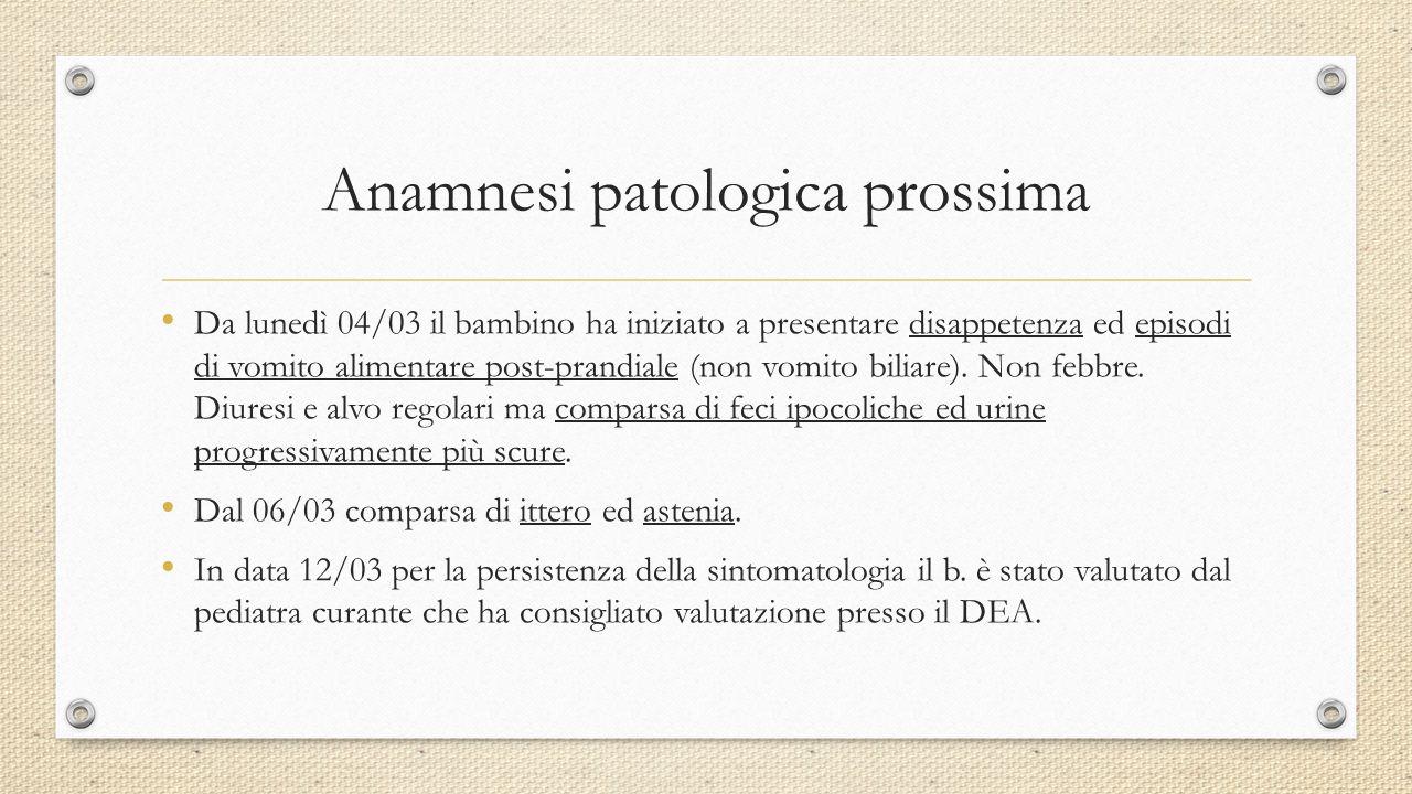 Anamnesi patologica prossima Da lunedì 04/03 il bambino ha iniziato a presentare disappetenza ed episodi di vomito alimentare post-prandiale (non vomi