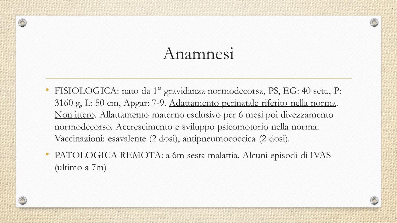 Anamnesi FISIOLOGICA: nato da 1° gravidanza normodecorsa, PS, EG: 40 sett., P: 3160 g, L: 50 cm, Apgar: 7-9. Adattamento perinatale riferito nella nor