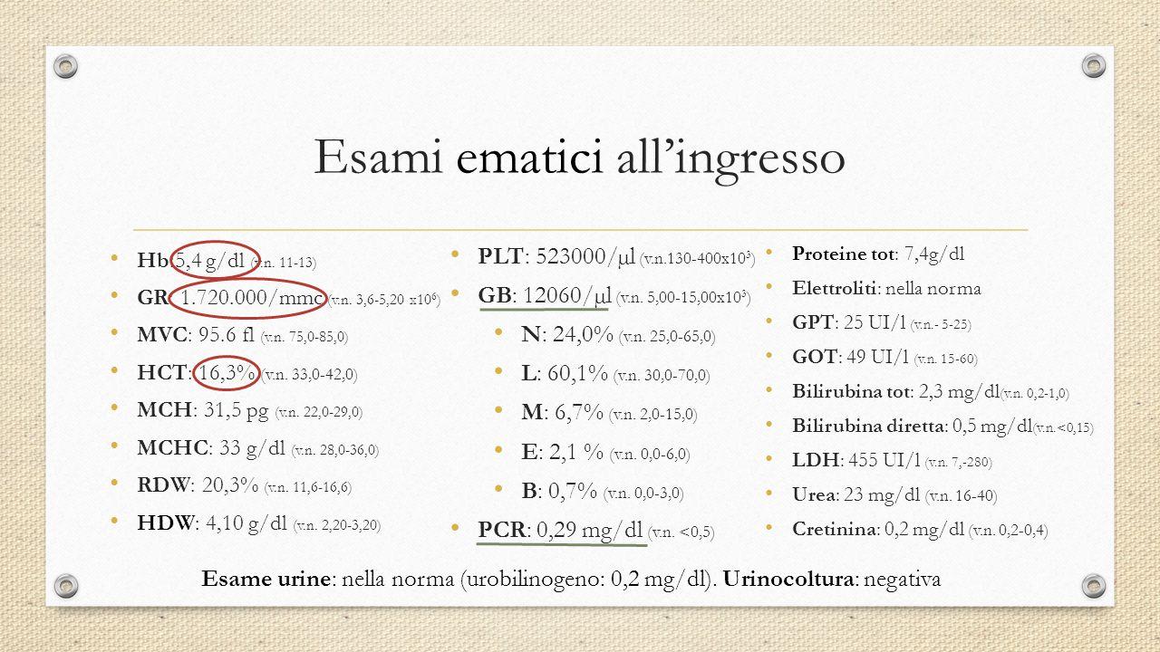 Proteine tot: 7,4g/dl Elettroliti: nella norma GPT: 25 UI/l (v.n.- 5-25) GOT: 49 UI/l (v.n. 15-60) Bilirubina tot: 2,3 mg/dl (v.n. 0,2-1,0) Bilirubina