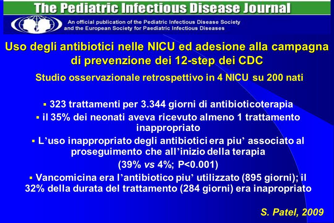 Uso degli antibiotici nelle NICU ed adesione alla campagna di prevenzione dei 12-step dei CDC Studio osservazionale retrospettivo in 4 NICU su 200 nat