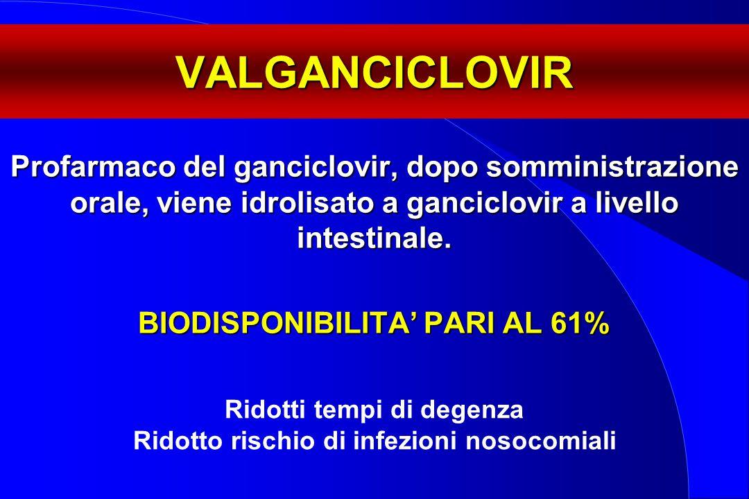 VALGANCICLOVIR Profarmaco del ganciclovir, dopo somministrazione orale, viene idrolisato a ganciclovir a livello intestinale. BIODISPONIBILITA' PARI A