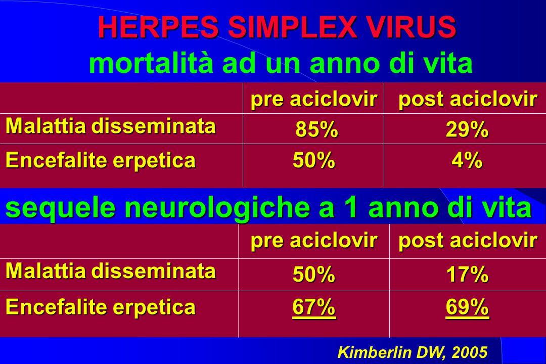 HERPES SIMPLEX VIRUS HERPES SIMPLEX VIRUS mortalità ad un anno di vita pre aciclovir post aciclovir Malattia disseminata 85% 85%29% Encefalite erpetic