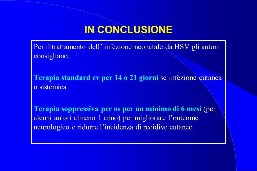 IN CONCLUSIONE Per il trattamento dell' infezione neonatale da HSV gli autori consigliano: Terapia standard ev per 14 o 21 giorni se infezione cutanea