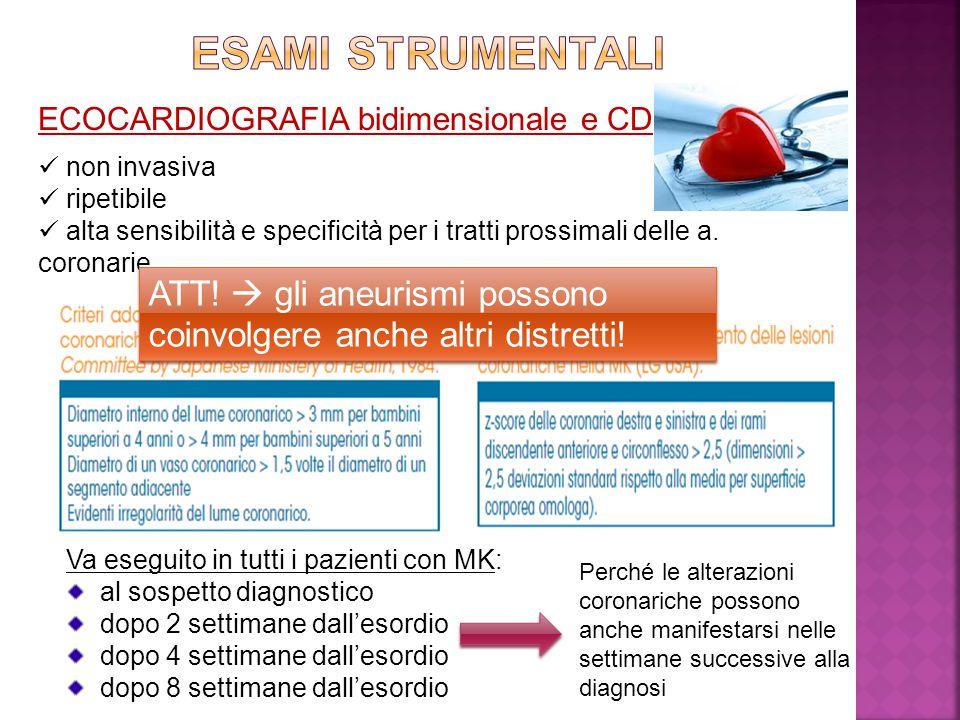 ECOCARDIOGRAFIA bidimensionale e CD non invasiva ripetibile alta sensibilità e specificità per i tratti prossimali delle a. coronarie Va eseguito in t