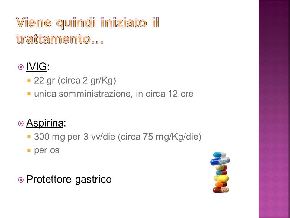  IVIG:  22 gr (circa 2 gr/Kg)  unica somministrazione, in circa 12 ore  Aspirina:  300 mg per 3 vv/die (circa 75 mg/Kg/die)  per os  Protettore