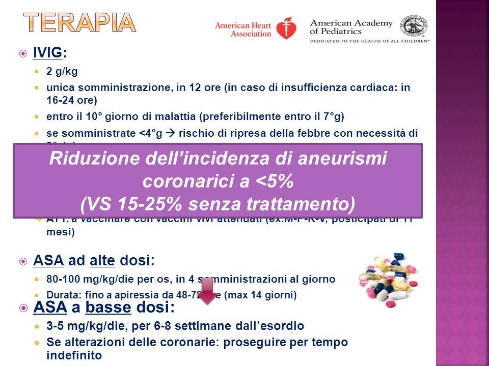  IVIG :  2 g/kg  unica somministrazione, in 12 ore (in caso di insufficienza cardiaca: in 16-24 ore)  entro il 10° giorno di malattia (preferibilm