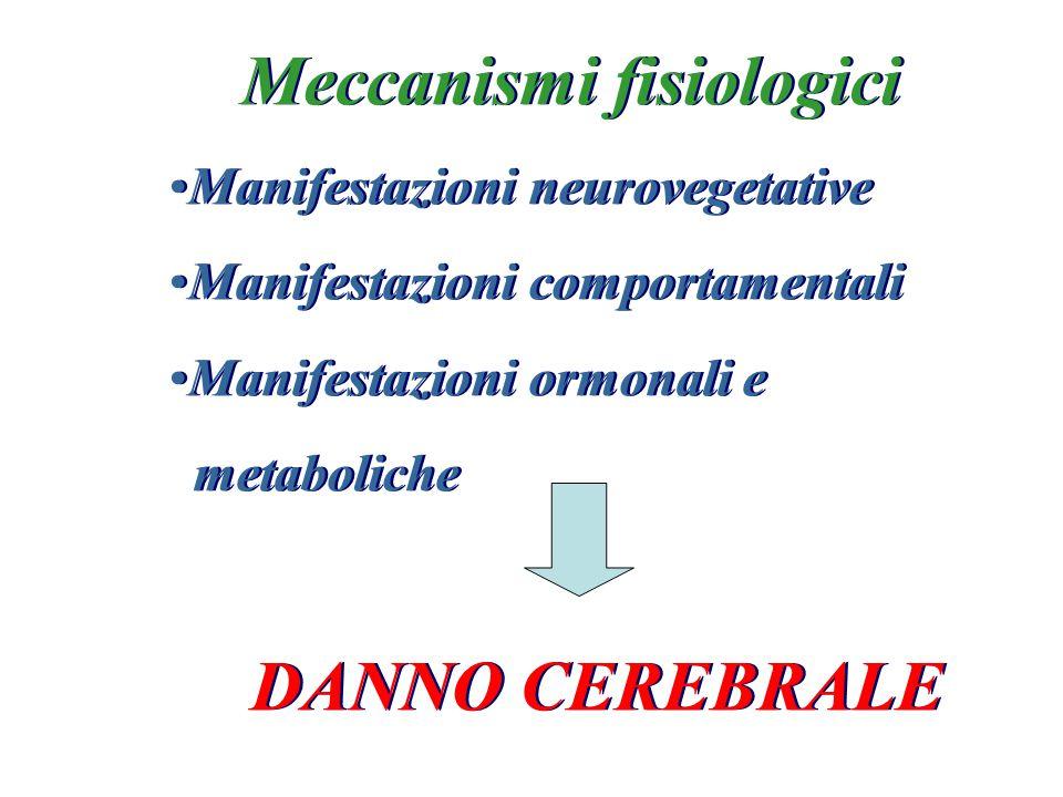 Meccanismi fisiologici Manifestazioni neurovegetative Manifestazioni comportamentali Manifestazioni ormonali e metaboliche DANNO CEREBRALE Meccanismi
