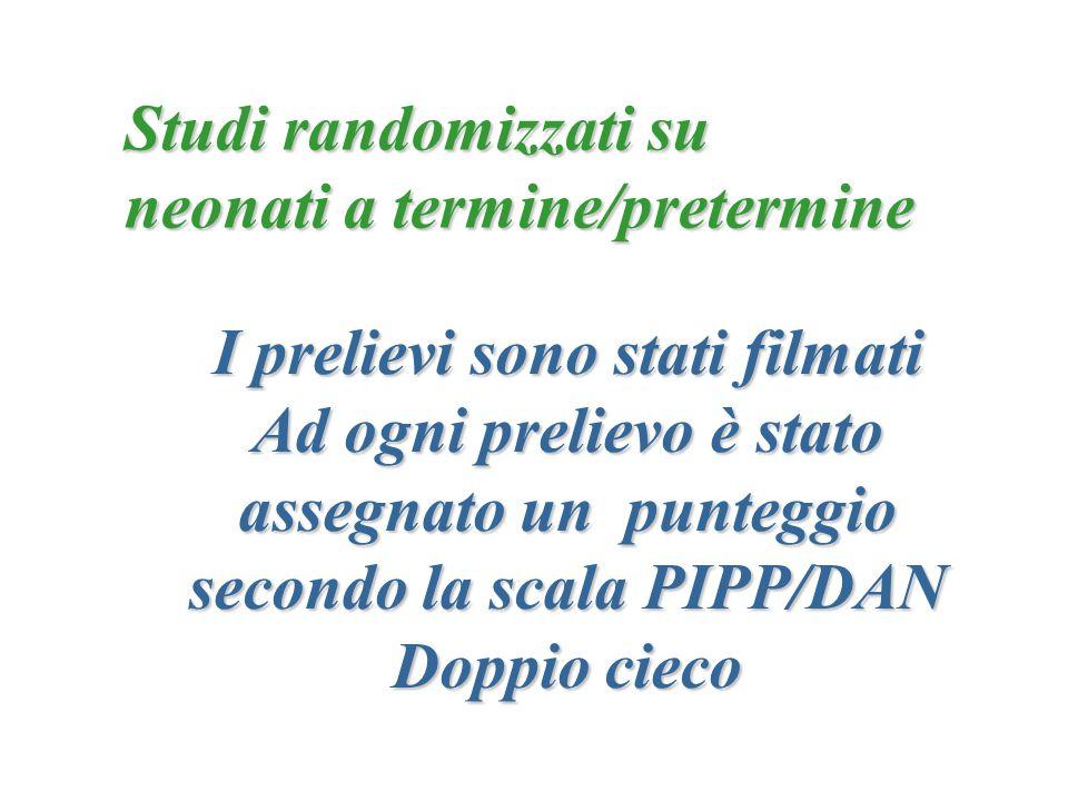 I prelievi sono stati filmati Ad ogni prelievo è stato assegnato un punteggio secondo la scala PIPP/DAN Doppio cieco Studi randomizzati su neonati a t