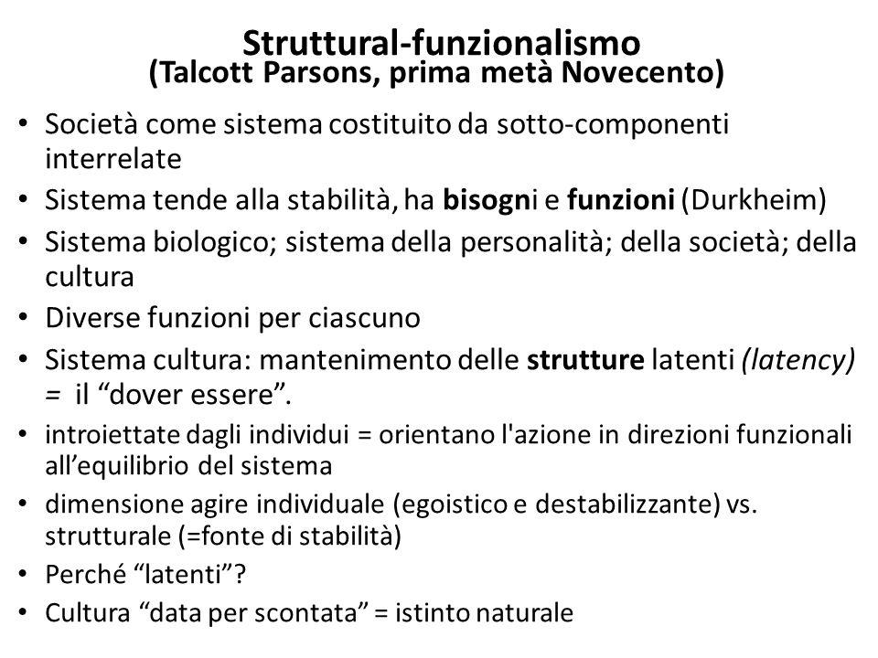 Struttural-funzionalismo (Talcott Parsons, prima metà Novecento) Società come sistema costituito da sotto-componenti interrelate Sistema tende alla st