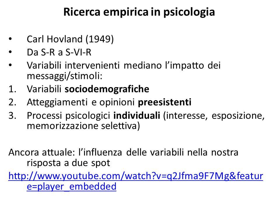 Ricerca empirica in psicologia Carl Hovland (1949) Da S-R a S-VI-R Variabili intervenienti mediano l'impatto dei messaggi/stimoli: 1.Variabili sociode
