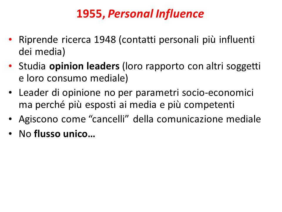Riprende ricerca 1948 (contatti personali più influenti dei media) Studia opinion leaders (loro rapporto con altri soggetti e loro consumo mediale)