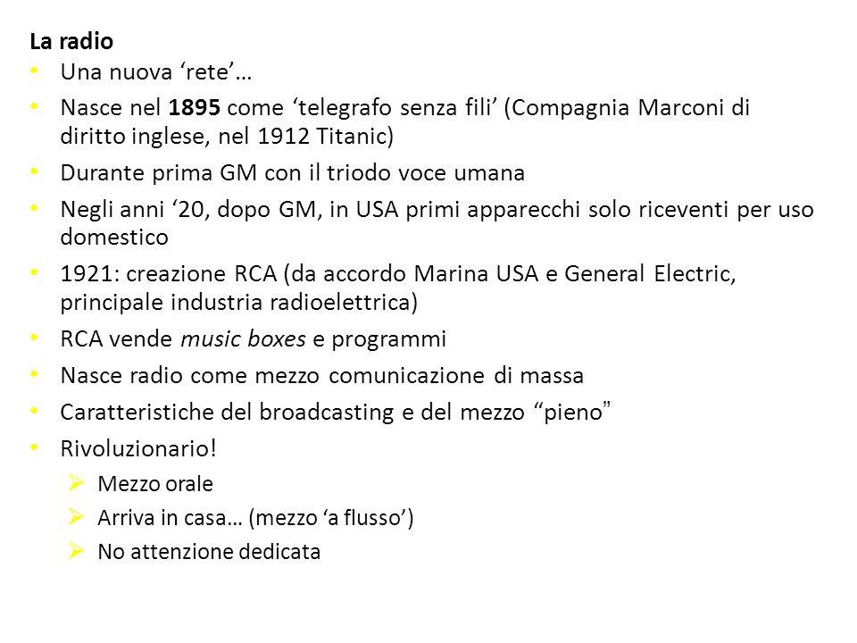 La radio Una nuova 'rete'… Nasce nel 1895 come 'telegrafo senza fili' (Compagnia Marconi di diritto inglese, nel 1912 Titanic) Durante prima GM con il