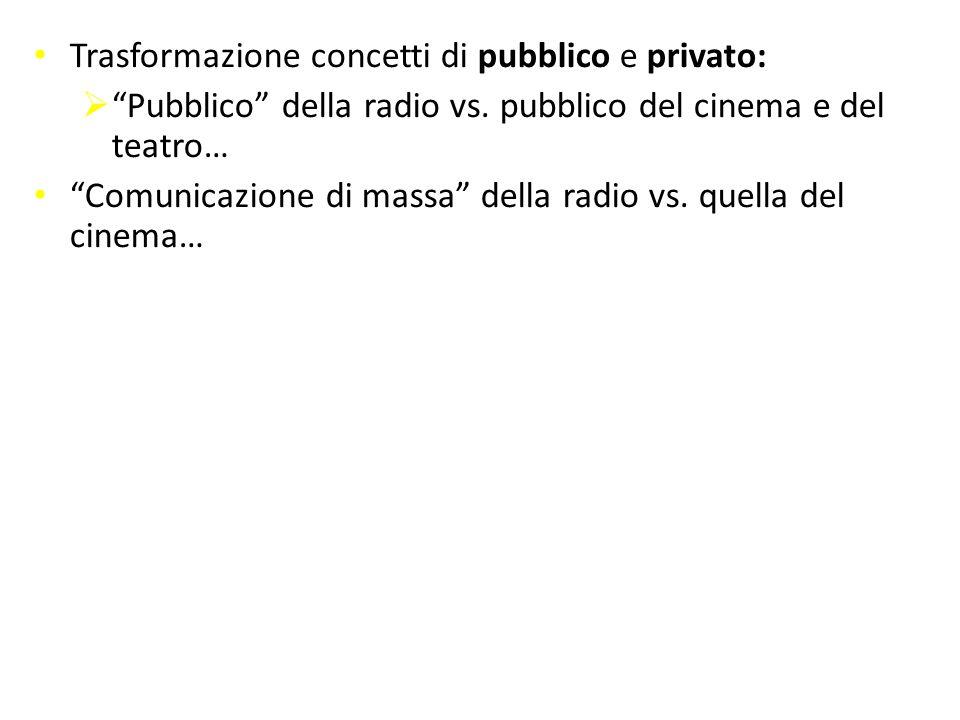 """Trasformazione concetti di pubblico e privato:  """"Pubblico"""" della radio vs. pubblico del cinema e del teatro… """"Comunicazione di massa"""" della radio vs."""