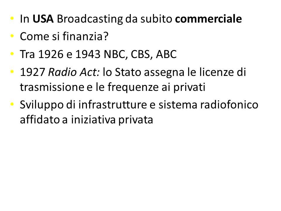 commerciale In USA Broadcasting da subito commerciale Come si finanzia? Come si finanzia? Tra 1926 e 1943 NBC, CBS, ABC 1927 Radio Act: lo Stato asseg