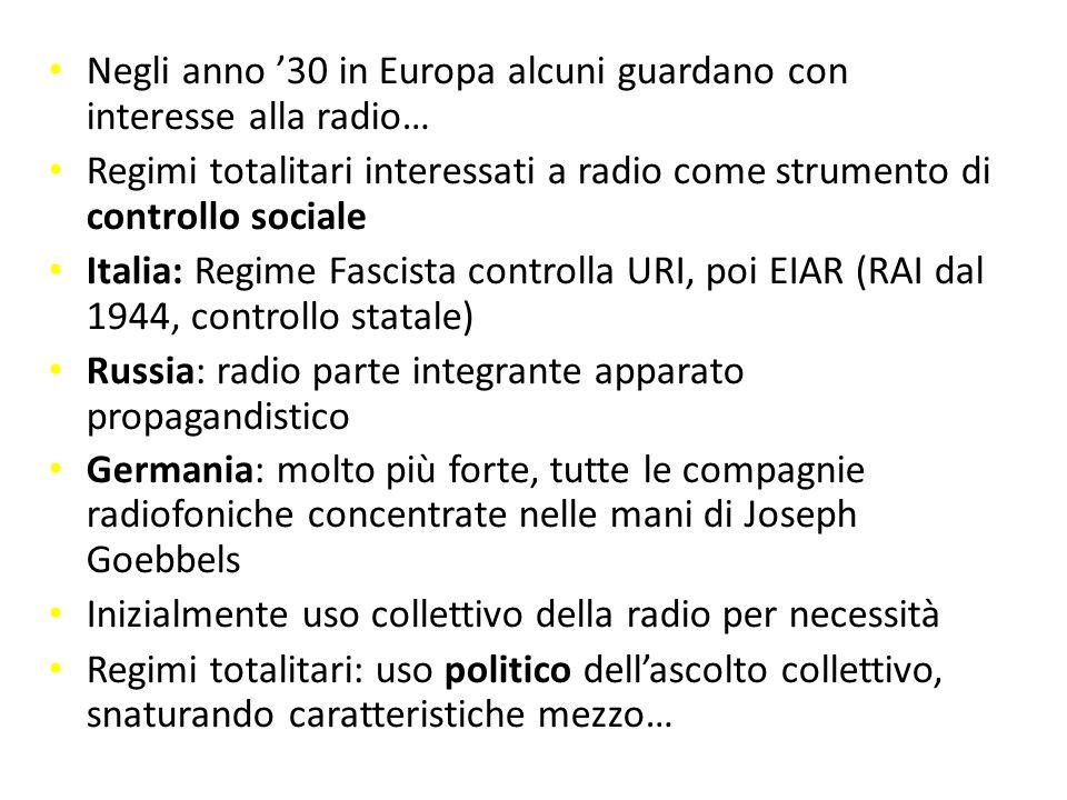Negli anno '30 in Europa alcuni guardano con interesse alla radio… controllo sociale Regimi totalitari interessati a radio come strumento di controllo