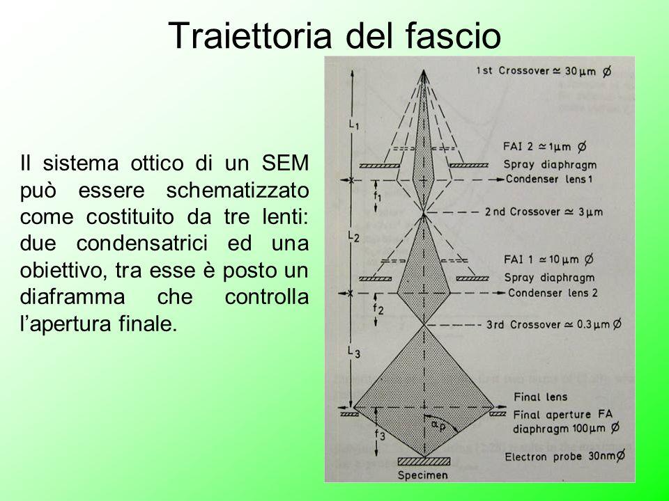 Traiettoria del fascio Il sistema ottico di un SEM può essere schematizzato come costituito da tre lenti: due condensatrici ed una obiettivo, tra esse è posto un diaframma che controlla l'apertura finale.