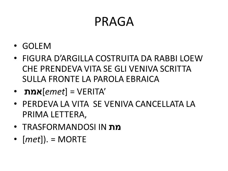 PRAGA GOLEM FIGURA D'ARGILLA COSTRUITA DA RABBI LOEW CHE PRENDEVA VITA SE GLI VENIVA SCRITTA SULLA FRONTE LA PAROLA EBRAICA אמת [emet] = VERITA' PERDE