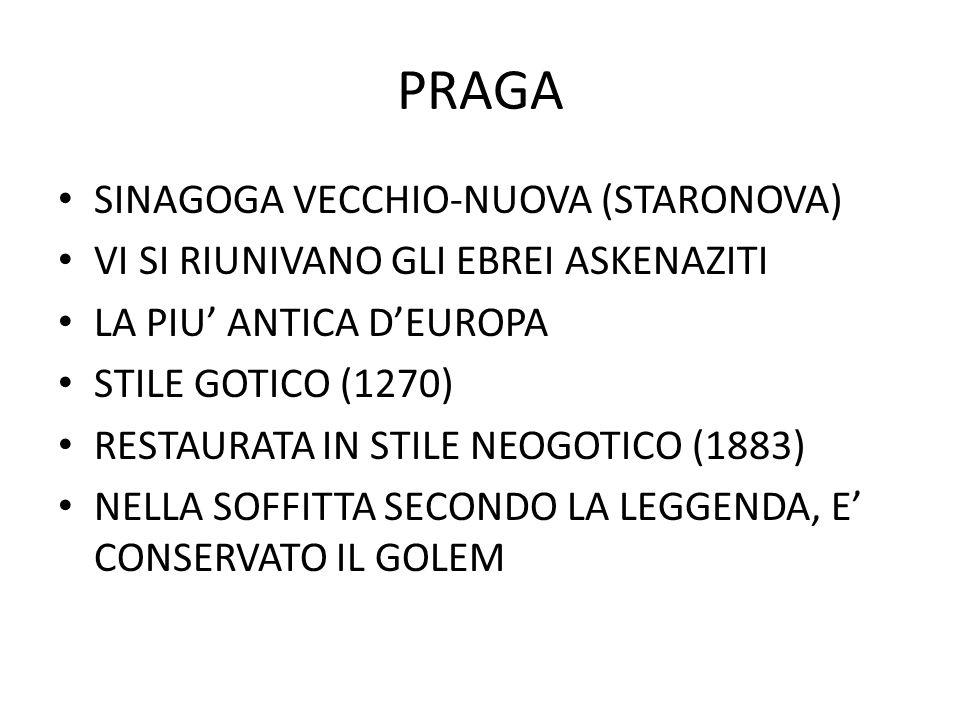 PRAGA SINAGOGA VECCHIO-NUOVA (STARONOVA) VI SI RIUNIVANO GLI EBREI ASKENAZITI LA PIU' ANTICA D'EUROPA STILE GOTICO (1270) RESTAURATA IN STILE NEOGOTIC