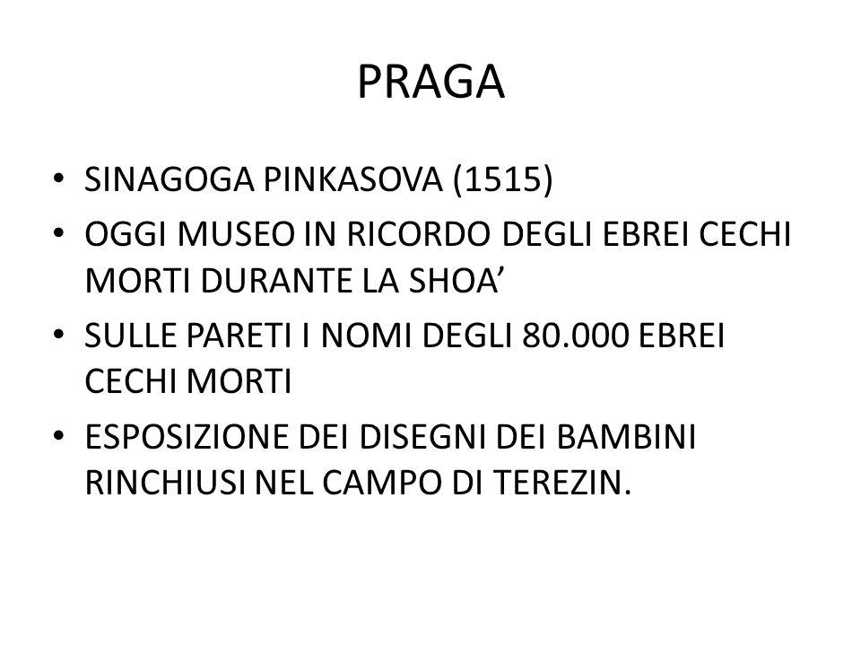 PRAGA SINAGOGA PINKASOVA (1515) OGGI MUSEO IN RICORDO DEGLI EBREI CECHI MORTI DURANTE LA SHOA' SULLE PARETI I NOMI DEGLI 80.000 EBREI CECHI MORTI ESPO