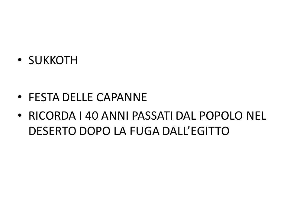 SUKKOTH FESTA DELLE CAPANNE RICORDA I 40 ANNI PASSATI DAL POPOLO NEL DESERTO DOPO LA FUGA DALL'EGITTO