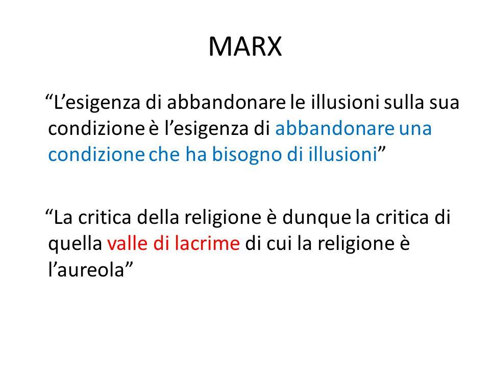 """MARX """"L'esigenza di abbandonare le illusioni sulla sua condizione è l'esigenza di abbandonare una condizione che ha bisogno di illusioni"""" """"La critica"""