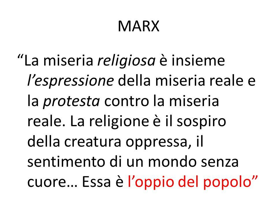 """MARX """"La miseria religiosa è insieme l'espressione della miseria reale e la protesta contro la miseria reale. La religione è il sospiro della creatura"""