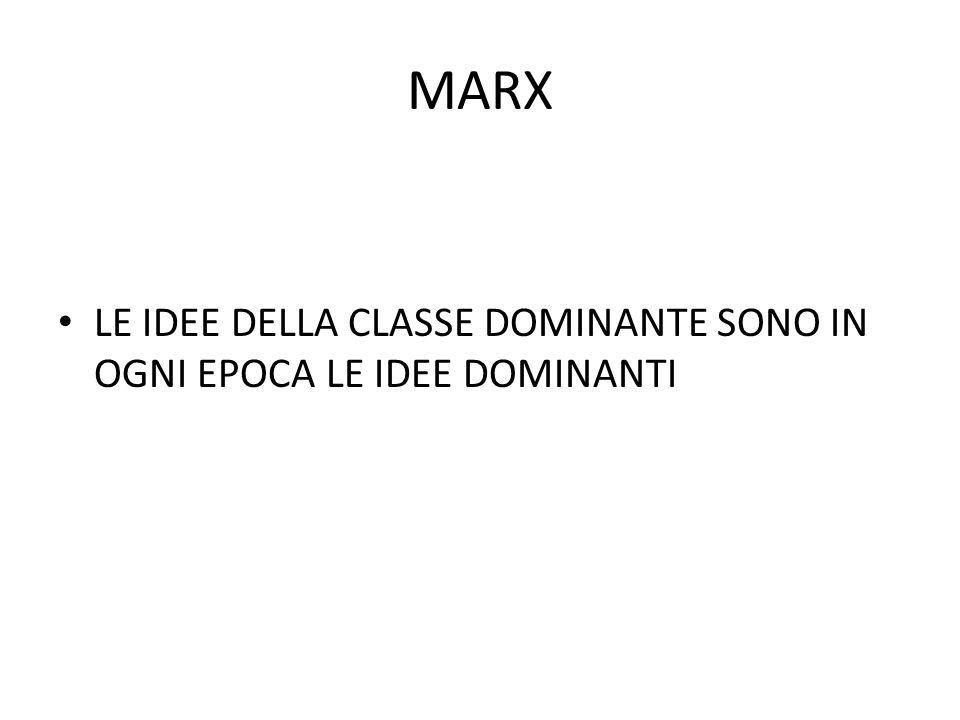 MARX LE IDEE DELLA CLASSE DOMINANTE SONO IN OGNI EPOCA LE IDEE DOMINANTI