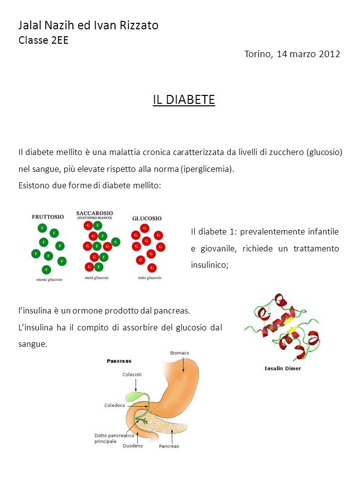 Jalal Nazih ed Ivan Rizzato Classe 2EE Torino, 14 marzo 2012 IL DIABETE Il diabete mellito è una malattia cronica caratterizzata da livelli di zucchero (glucosio) nel sangue, più elevate rispetto alla norma (iperglicemia).