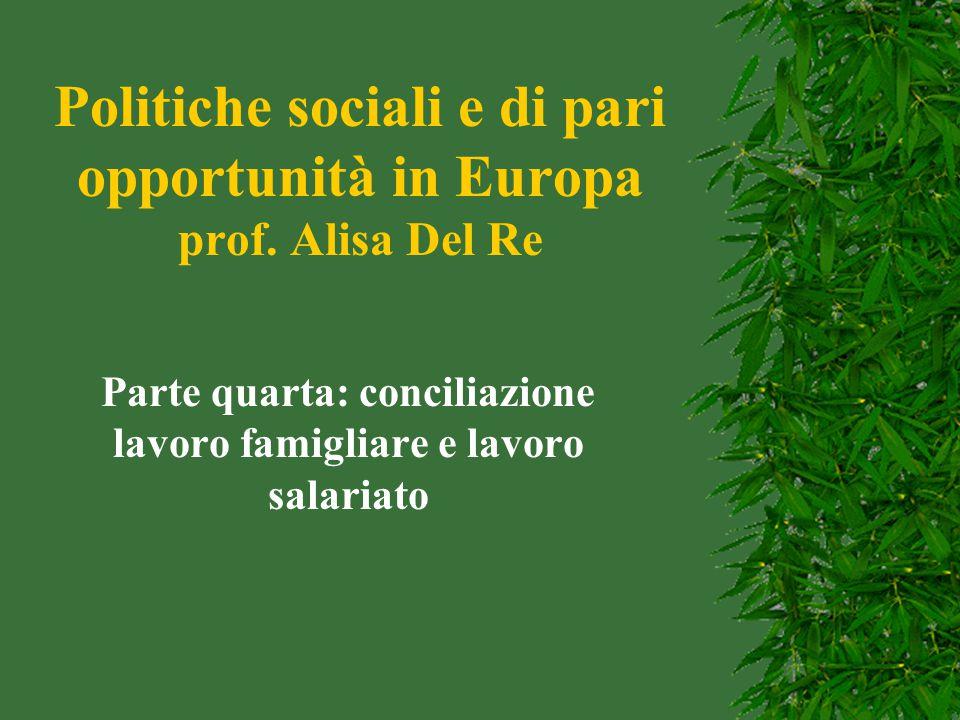 Politiche sociali e di pari opportunità in Europa prof. Alisa Del Re Parte quarta: conciliazione lavoro famigliare e lavoro salariato