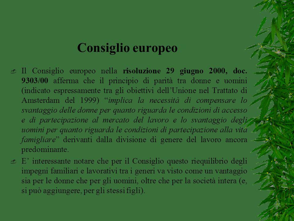 Consiglio europeo  Il Consiglio europeo nella risoluzione 29 giugno 2000, doc. 9303/00 afferma che il principio di parità tra donne e uomini (indicat