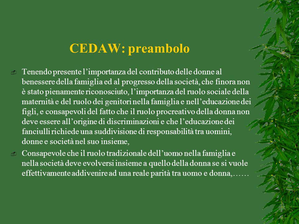 CEDAW: preambolo  Tenendo presente l'importanza del contributo delle donne al benessere della famiglia ed al progresso della società, che finora non