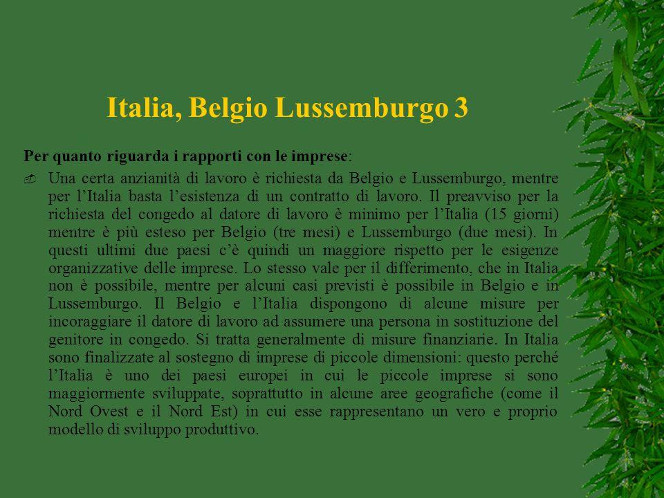 Italia, Belgio Lussemburgo 3 Per quanto riguarda i rapporti con le imprese:  Una certa anzianità di lavoro è richiesta da Belgio e Lussemburgo, mentr