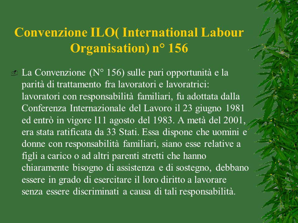 Convenzione ILO( International Labour Organisation) n° 156  La Convenzione (N° 156) sulle pari opportunità e la parità di trattamento fra lavoratori