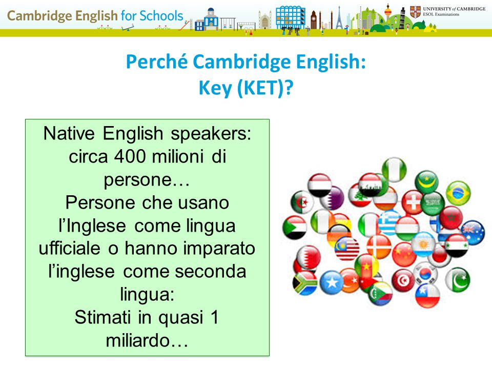 Native English speakers: circa 400 milioni di persone… Persone che usano l'Inglese come lingua ufficiale o hanno imparato l'inglese come seconda lingua: Stimati in quasi 1 miliardo… Native English speakers: circa 400 milioni di persone… Persone che usano l'Inglese come lingua ufficiale o hanno imparato l'inglese come seconda lingua: Stimati in quasi 1 miliardo… Perché Cambridge English: Key (KET)?