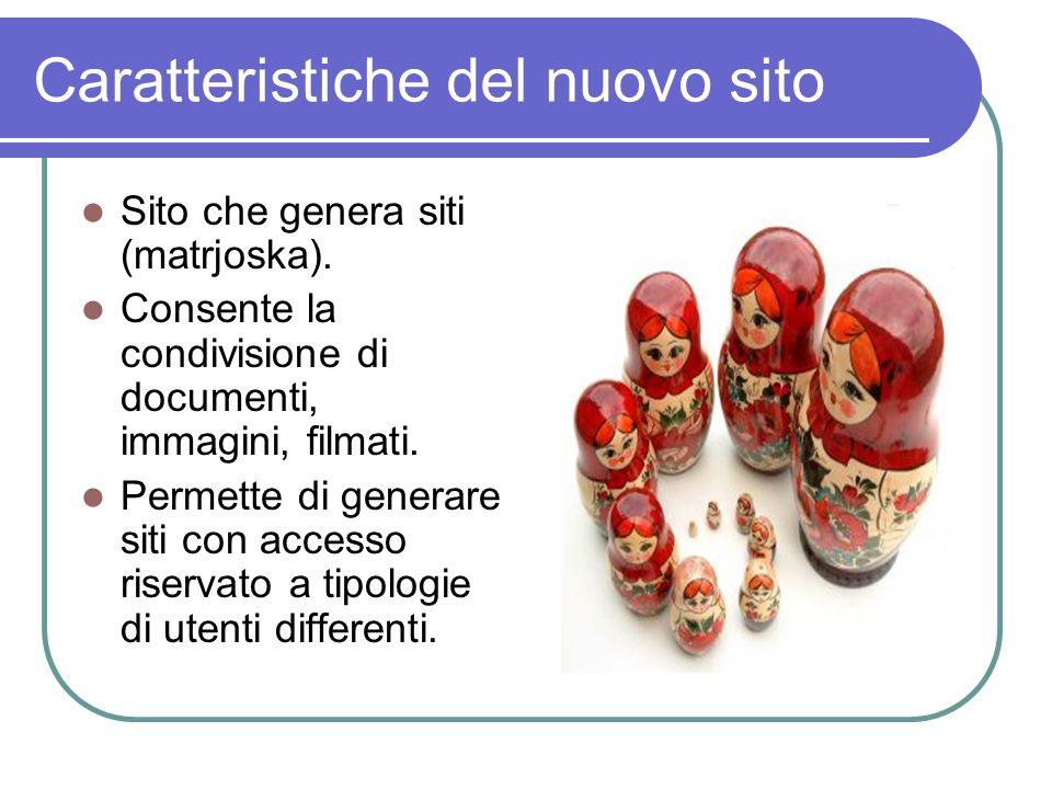 Caratteristiche del nuovo sito Sito che genera siti (matrjoska). Consente la condivisione di documenti, immagini, filmati. Permette di generare siti c
