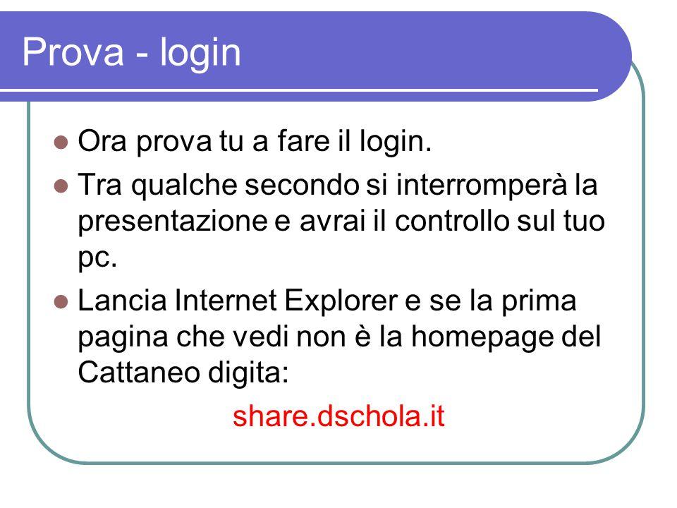 Prova - login Ora prova tu a fare il login. Tra qualche secondo si interromperà la presentazione e avrai il controllo sul tuo pc. Lancia Internet Expl