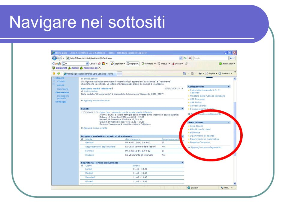 Prova a navigare nel sito Prova ad accedere nei sottositi.