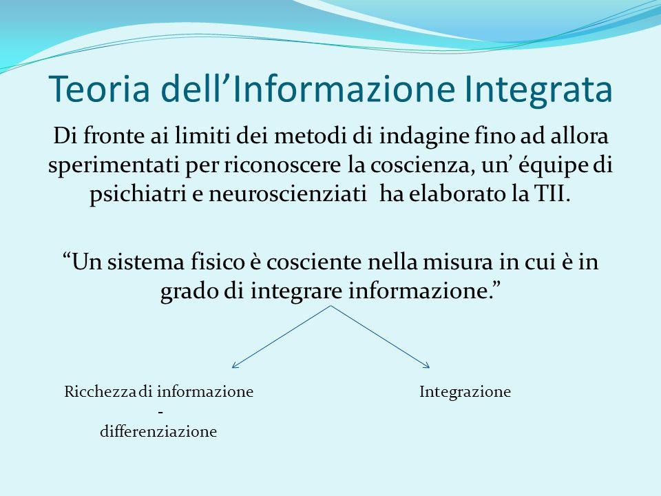 Teoria dell'Informazione Integrata Di fronte ai limiti dei metodi di indagine fino ad allora sperimentati per riconoscere la coscienza, un' équipe di