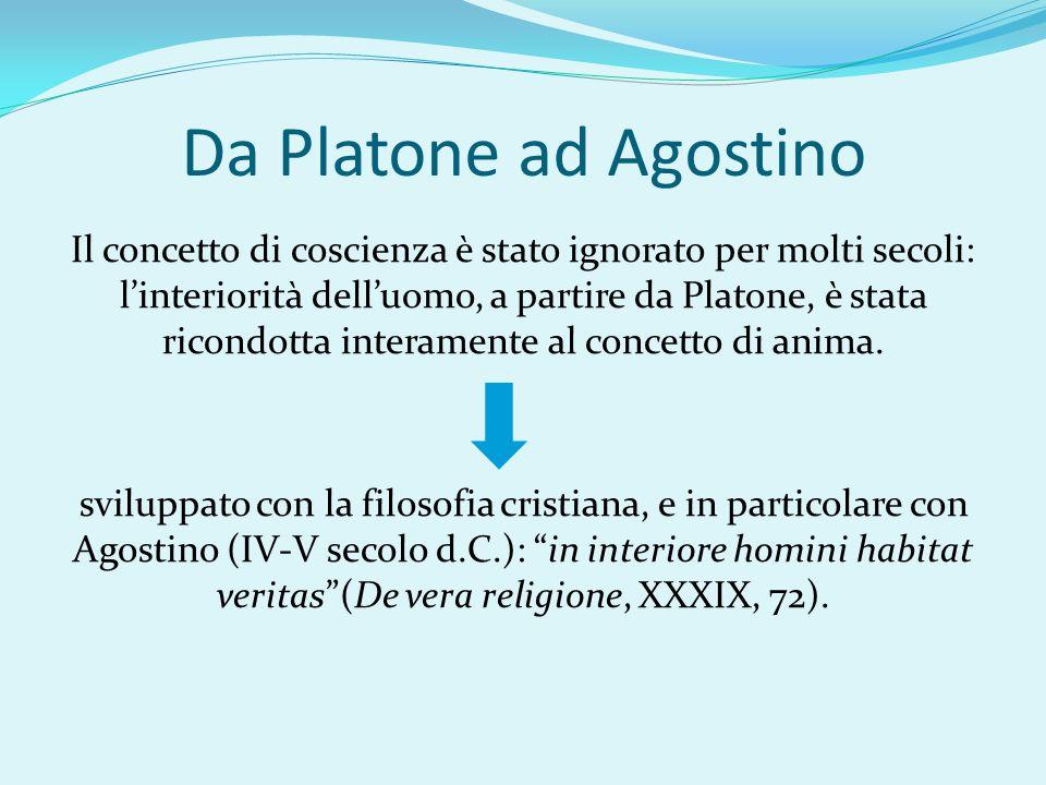 Da Platone ad Agostino Il concetto di coscienza è stato ignorato per molti secoli: l'interiorità dell'uomo, a partire da Platone, è stata ricondotta i