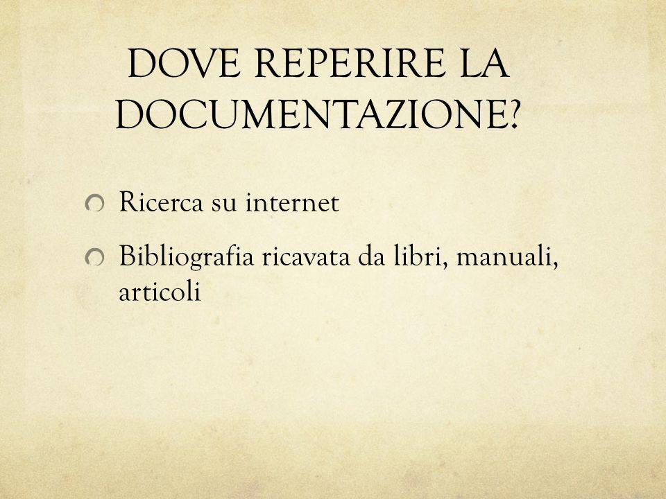 DOVE REPERIRE LA DOCUMENTAZIONE? Ricerca su internet Bibliografia ricavata da libri, manuali, articoli